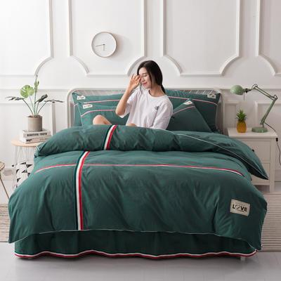 2018新款全棉磨毛床裙款四件套 1.5m(5英尺)床 墨绿