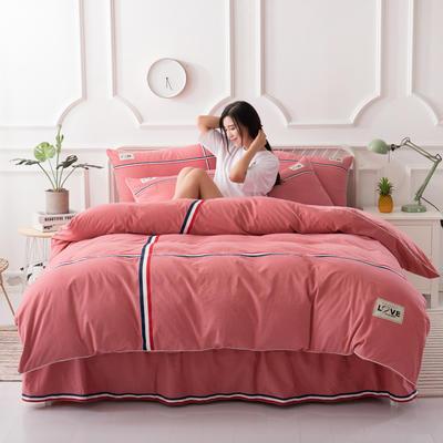 2018新款全棉磨毛床裙款四件套 1.2m(4英尺)床 砖红