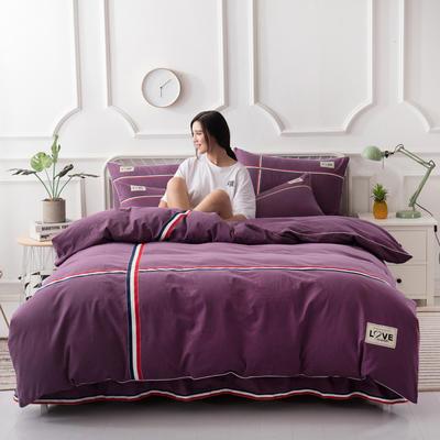 2018新款全棉磨毛床裙款四件套 1.2m(4英尺)床 紫色