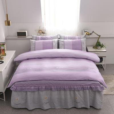 2019新款全棉12868印花床裙四件套-不夹棉款 1.2m床裙款 罗马空间(紫)
