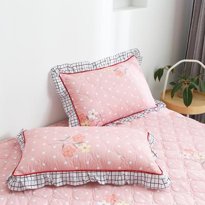 2020新款12868韩版单品系列-单品加棉花边枕套 48cmX74cm/对 朵拉-粉