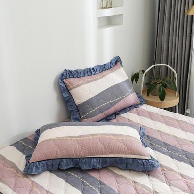 2020新款12868韩版单品系列-单品加棉花边枕套 48cmX74cm/对 爵士风情-豆沙