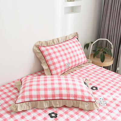 2020新款12868韩版单品系列-单品加棉花边枕套 48cmX74cm/对 甜美的梦-粉