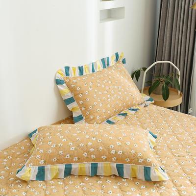 2020新款12868韩版单品系列-单品加棉花边枕套 48cmX74cm/对 夏末之晨-黄