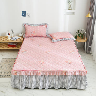 2020新款12868韩版单品系列-单品加棉床裙 150cmx200cm 朵拉-粉