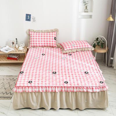 2020新款12868韩版单品系列-单品加棉床裙 150cmx200cm 甜美的梦-粉