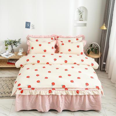 2020新款12868半夹棉床裙款四件套 1.5m床裙款四件套 蜜果-黄