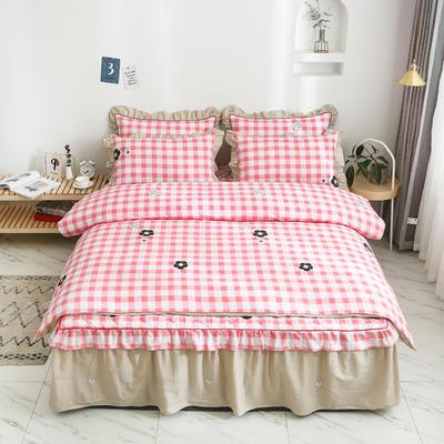 2020新款12868半夹棉床裙款四件套 1.5m床裙款四件套 甜美的梦-粉