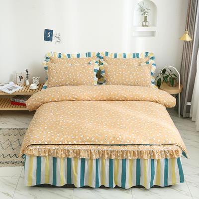 2020新款12868半夹棉床裙款四件套 1.2m床裙款三件套 夏末之晨-黄