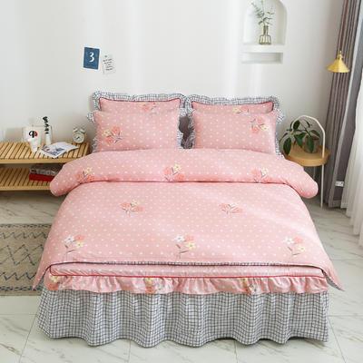 2020新款12868单层床裙款四件套 1.2m床裙款三件套 朵拉-粉