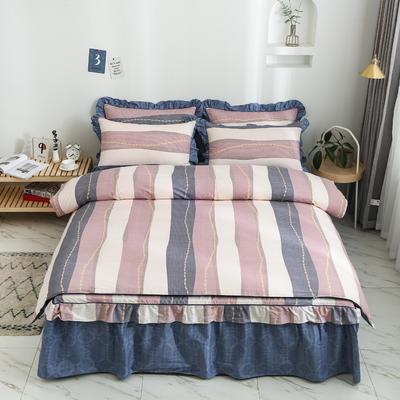 2020新款12868单层床裙款四件套 1.2m床裙款三件套 爵士风情-豆沙