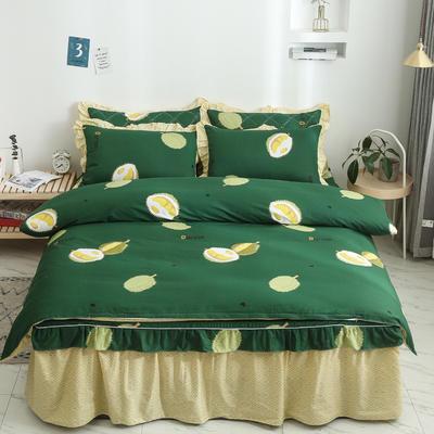 2020新款12868单层床裙款四件套 1.2m床裙款三件套 榴莲