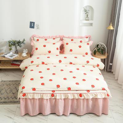 2020新款12868单层床裙款四件套 1.2m床裙款三件套 蜜果-黄