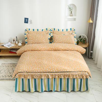 2020新款12868单层床裙款四件套 1.2m床裙款三件套 夏末之晨-黄