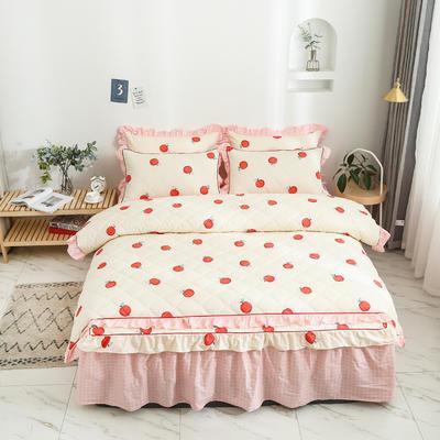 2020新款12868全夹棉床裙款四件套 1.5m床裙款四件套 蜜果-黄