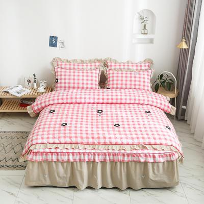 2020新款12868全夹棉床裙款四件套 1.2m床裙款三件套 甜美的梦-粉