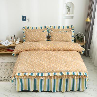 2020新款12868全夹棉床裙款四件套 1.5m床裙款四件套 夏末之晨-黄