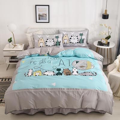 2020新款13372全棉活性印花卡通床裙款四件套-夹棉款 1.5m床裙款四件套 猫家族
