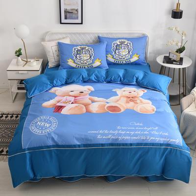 2020新款13372全棉活性印花卡通床裙款四件套-夹棉款 1.5m床裙款四件套 熊宝宝