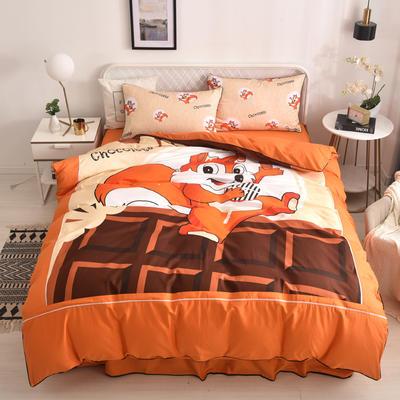 2020新款13372全棉活性印花卡通床裙款四件套-单层款 1.5m床单款四件套 快乐松鼠