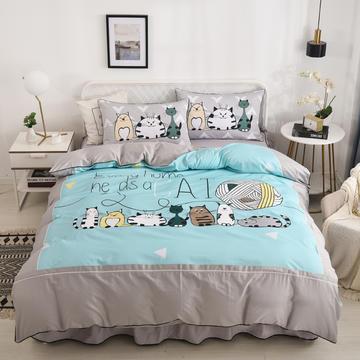 2020新款13372全棉活性印花卡通床裙款四件套-单层款