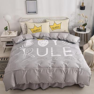 2020新款13372全棉活性印花卡通床裙款四件套-单层款 1.5m床单款四件套 时代