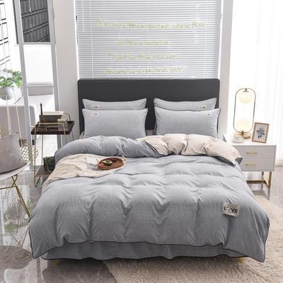 2020款色织床裙系列四件套-不夹棉款 1.2m床裙款四件套 灰色