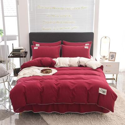 2020款色织床裙系列四件套-不夹棉款 1.5m床裙款四件套 酒红