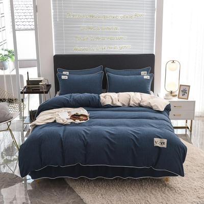 2020款色织床裙系列四件套-不夹棉款 1.5m床裙款四件套 深蓝
