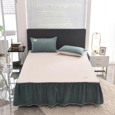 2020款色织床裙系列三件套-不夹棉款 150cmx200cm 宝石绿