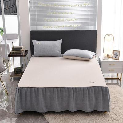 2020款色织床裙系列三件套-不夹棉款 150cmx200cm 灰色