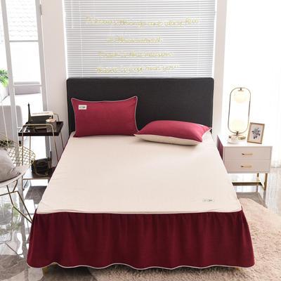 2020款色织床裙系列三件套-不夹棉款 150cmx200cm 酒红