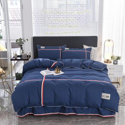 2018新款全棉磨毛床单款四件套 1.5m(5英尺)床 墨蓝