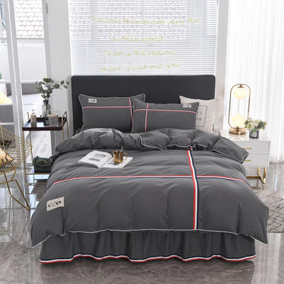 2021新款全棉磨毛床单款四件套 1.8m(6英尺)床 深灰