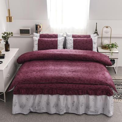 2020新款12868单层床裙款四件套 1.5m床裙款四件套 美丽坊(红)