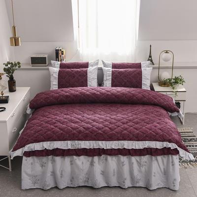 2020新款12868全夹棉床裙款四件套 1.5m床裙款四件套 美丽坊(红)