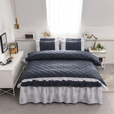 2020新款12868全夹棉床裙款四件套 1.5m床裙款四件套 美丽坊(蓝)
