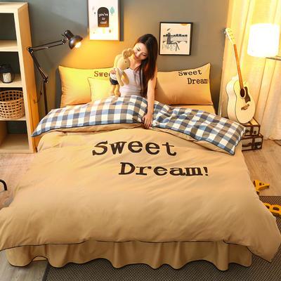 2021新款全棉活性大版印花床裙四件套 1.2m(4英尺)床 淡黄