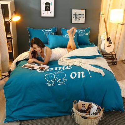2021新款全棉活性大版印花床裙四件套 1.2m(4英尺)床 湖蓝