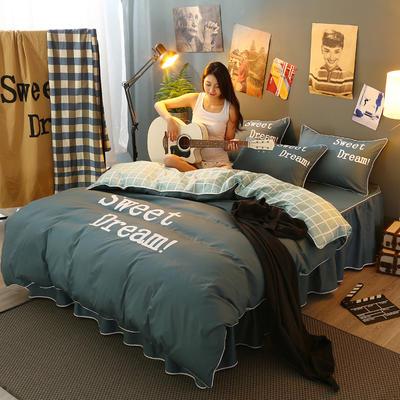 2021新款全棉活性大版印花床裙四件套 1.2m(4英尺)床 墨绿