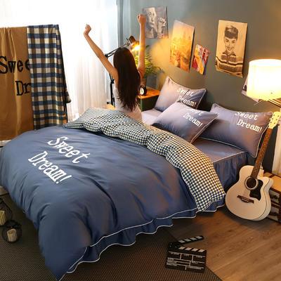 2021新款全棉活性大版印花床裙四件套 1.2m(4英尺)床 深蓝