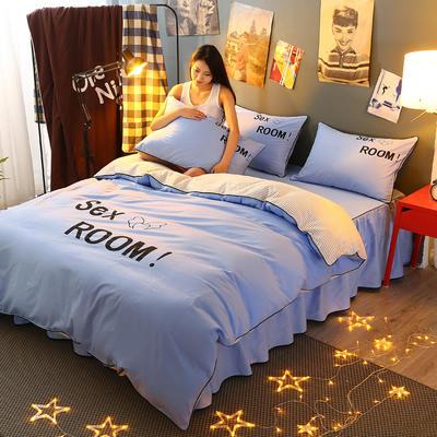 2021新款全棉活性大版印花床裙四件套 1.2m(4英尺)床 水蓝