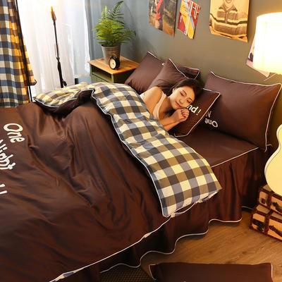 2021新款全棉活性大版印花床裙四件套 1.2m(4英尺)床 棕色