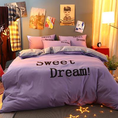 2021新款全棉活性大版印花夹棉床裙四件套 1.2m床裙款四件套 粉紫