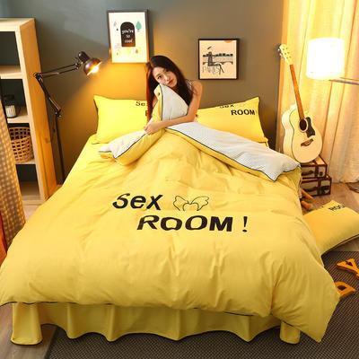 2021新款全棉活性大版印花夹棉床裙四件套 1.2m床裙款四件套 亮黄