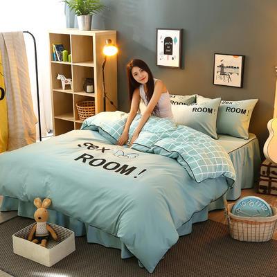 2021新款全棉活性大版印花夹棉床裙四件套 1.2m床裙款四件套 浅绿