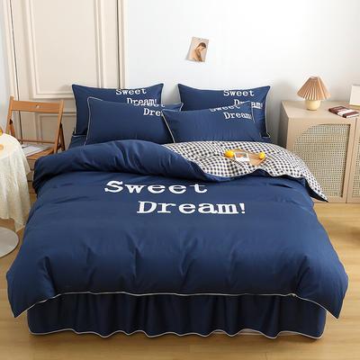 2021新款全棉活性大版印花夹棉床裙四件套 1.2m床裙款四件套 墨蓝
