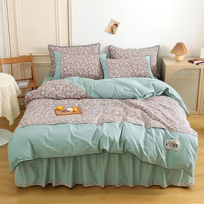 2021新款13372全棉加厚床裙四件套 1.5m床裙款四件套(被套200*230cm) 花团锦簇