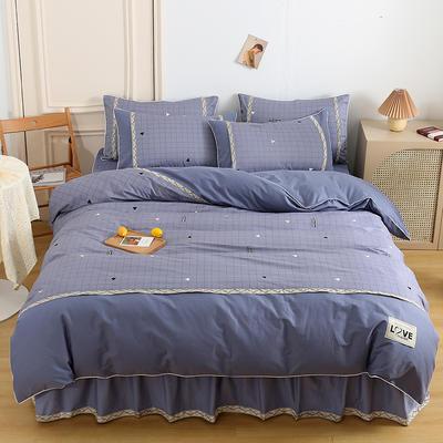 2021新款13372全棉加厚床裙四件套 1.5m床裙款四件套(被套200*230cm) 几何空间