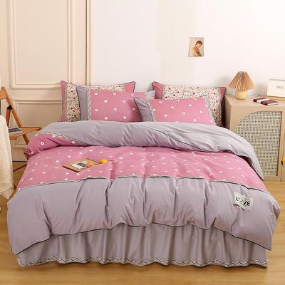 2021新款13372全棉加厚床裙四件套 1.5m床裙款四件套(被套200*230cm) 沁香花语-粉